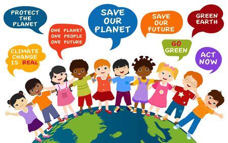 Niños aislados de diferentes culturas y pueblos multiétnicos abrazándose en el mundo. Bocadillo con mensajes para un medio ambiente ecológico y un futuro verde y sostenible. Salva Nuestro Planeta Ilustración de vector
