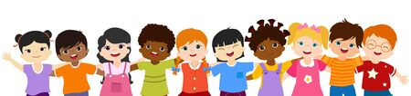 Close-up isolated group of happy and smiling multiethnic children hugging each other.Community or childhood with children of different culture. Multicultural kindergarten. Oneness. Peace. Friendship 版權商用圖片 - 138462974
