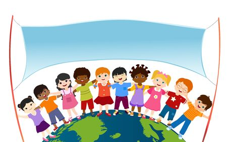 Isolated group of happy and smiling diverse and multiethnic children hugging each other and holding two rods with empty banner on a globe. Multicultural kindergarten. Childhood. Oneness. Peace