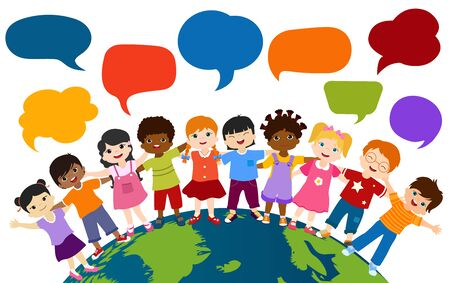 Communication and friendship dialogue group of happy and multiethnic children embracing each other. Community or childhood with children of different cultures. Multicultural kindergarten 版權商用圖片 - 138288082
