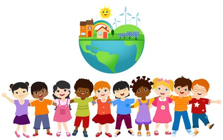 Group of diverse and multiethnic children embracing each other. Unity for an ecological world with eco and sustainable energy. Save our planet. Globe with solar cell and wind turbines