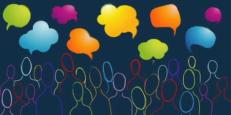 Dialogue group of many multiethnic and multicultural people. Crowd talking. Communication sharing and exchange of ideas between people. Color speech bubble. Social network. Community 向量圖像