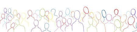 Globalization. Multicultural population. Crowd silhouettes of people with colorful stroke. Many multiethnic people who communicate and share ideas. Confusion and disorganization. Immigration 版權商用圖片 - 138500867