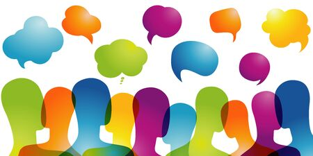 Crowd talking. Communication sharing and exchange of ideas between people.Dialogue group of many multiethnic and multicultural people. Color speech bubble. Social network. Community