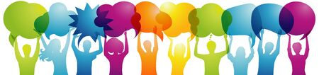 Silhouette crowd people talk holding speech bubble. Talking and inform. Communicate between a group of multiethnic and multicultural people who talk and share ideas. Social network