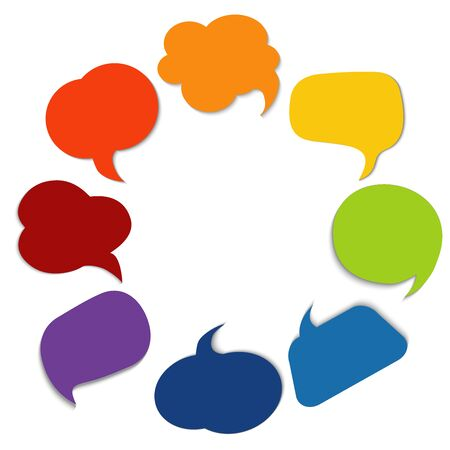 Colored speech bubble. Community. Sharing ideas and thoughts between multiethnic and multicultural peoples. Social network. Cloud. Friendship connection and dialogue different cultures 向量圖像