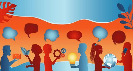 Communicate connection and share virtual. Speech bubble. Group of trendy profile silhouettes people talking sharing ideas information or data. Social media concept. Socialize and speak. clouds