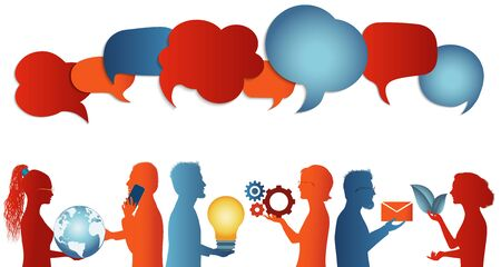 Group of trendy profile silhouettes people talking sharing ideas information or data. Social media concept. Clouds. Communicate connection and share virtual. Socialize and speak. Speech bubble