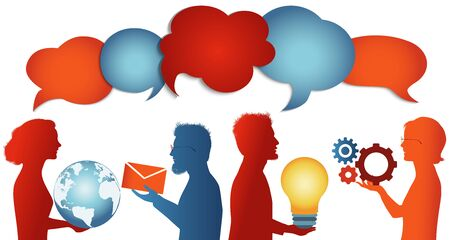 Speech bubble. Group of trendy profile silhouettes people talking sharing ideas information or data. Social media concept. Communicate connection and share virtual. Socialize and speak. clouds