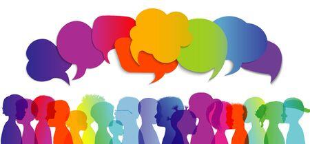 Silhouette group of modern children in rainbow colored profile. Communication between multi-ethnic children. Children talking. Multicultural kindergarten. Globalization. Speech bubble