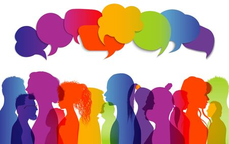 Crowd talking. Dialogue group different people different cultures. Communication between people. Silhouette profiles that speak. Rainbow colors. Speech bubble. To communicate. Interview Ilustração