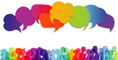 Large isolated group people in profile talking silhouette. Concept to communicate. Speech bubble. Crowd speaks. Social networking. Multi-ethnic people dialogue. Clouds rainbow colors. Talk