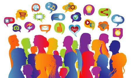 Connecting group of multiethnic people who socialize communicate and share information. Communication and sharing. Crowd that speaks. Social media network. Virtual contacts. Speech bubble Ilustração
