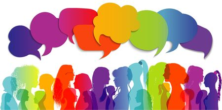 Speech bubble. Multiethnic women who talk and share ideas and information. Women social network community. Communication and friendship between women or girls of different cultures