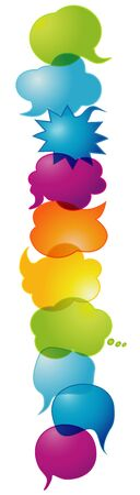 Colorful speech bubble. Communication concept. Clouds. Social network. Friendship dialogue and solidarity between different cultures and ethnicities.Symbol talking and communicate.Speak