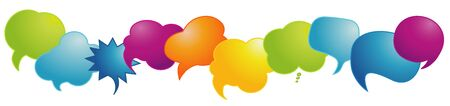Rainbow-colored speech bubble. Speak. Communication concept. Sharing of ideas and thoughts. Empty clouds.Social network. Dialogue between diverse cultures and ethnicities.To communicate