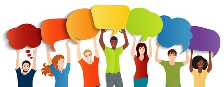 Communication dialogue group of diverse multiethnic people holding speech bubble.Social network.Communicating talking sharing ideas and thoughts.Socializing and informing. Speak. Information sharing Banco de Imagens