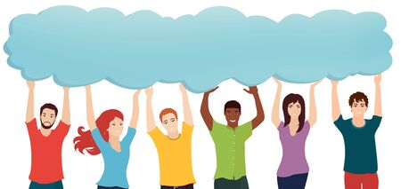 Communication connection group of diverse multiethnic people holding speech bubble.Communicating talking sharing ideas and thoughts.Social network.Socializing and informing.Speak. Information sharing