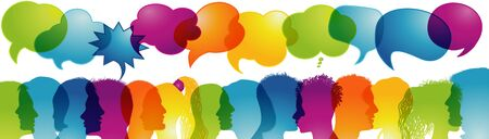 Multicultural communication.Speech bubble.Dialogue group diverse multiethnic people.Speak.Sharing ideas - thoughts.Communicating talking.Social network.Socializing and informing.Rainbow colors