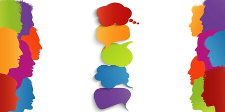 Speech bubble. Communication connection group of diverse multiethnic people.Speak. Information sharing.Communicating talking sharing ideas and thoughts.Social network.Socializing and informing