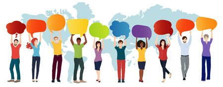 Communication connection group of diverse multiethnic people. 向量圖像