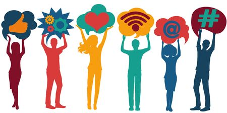 Silhouette group of people talking and sharing ideas and information.Speech bubble.Social network.Social media concept.Community.App symbols for influencers.Trend communication.Followers