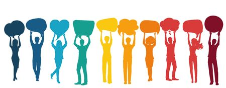 Silhouette group of volunteer people with arms raised holding speech bubble.Cooperation and help between people.Care and assistance.Concept of solidarity friendship and charity.Community 向量圖像