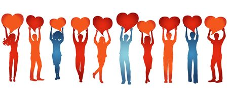 Silhouette group of volunteer people with raised arms holding heart shaped speech bubble.Care cooperation help and assistance to people.Concept of solidarity friendship and charity 向量圖像