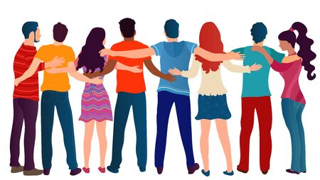 Group of people of different cultures seen from behind embracing each other.Cooperation and help between people.Care and assistance.Concept of solidarity friendship and charity.Community