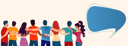 Group of people of diverse cultures seen from behind embracing each other.Cooperation and help between people.Community.Care and assistance.Concept of solidarity friendship and charity