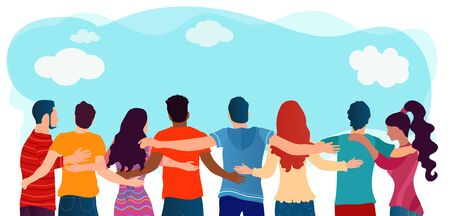 People diversity.Group of multiethnic friends who are embraced and united. Cooperation friendship and organization.Communication and dialogue.Community.Teamwork.Social network.Students Ilustração