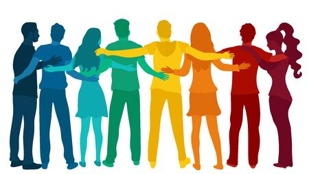 Group silhouette diverse people embracing.Back view.Cooperation and help between multi-ethnic people.Care and assistance.Concept of solidarity friendship and charity.Community.Teamwork