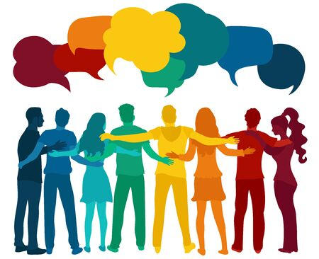 Dialogue and friendship silhouette group of multiethnic people of diverse cultures.Communication speak discussion.Crowd talking.Social network.Community.Speech bubble rainbow colors