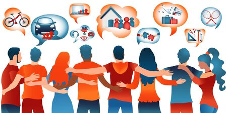Sharing economy concept.Group people who share goods and services or rent and sell.Speech bubble containing icons such as co working sharing mobility-house-bike.Future economy. Peer to peer