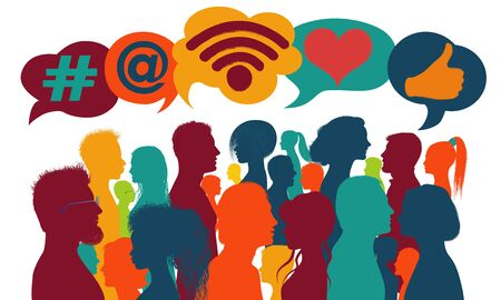 Influencer.Silhouette group of people talking and sharing ideas and information.Trend communication.Social network.Social media concept.Community.App symbols.Followers.Speech bubble