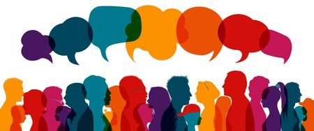 Crowd talking.Dialogue group of diverse people.Communication multiethnic people.Group of families.Sharing information and ideas.Silhouette.Speak discussion.Globalization.Speech bubble 向量圖像
