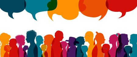 Dialogue group of diverse people.Group of families.Communication multiethnic people. Crowd talking.Sharing information and ideas.Silhouette.Speak discussion.Globalization.Speech bubble 向量圖像