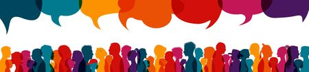 Crowd talking.Dialogue group of diverse people.Silhouette.Communication multiethnic people.Group of families.Sharing information and ideas.Speak discussion.Globalization.Speech bubble