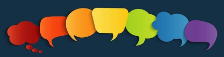 Colorful speech bubble.Social network.Dialogue diverse cultures and ethnicities.Communication concept.Empty clouds.Sharing of ideas and thoughts.To communicate.Speak.Multicultural