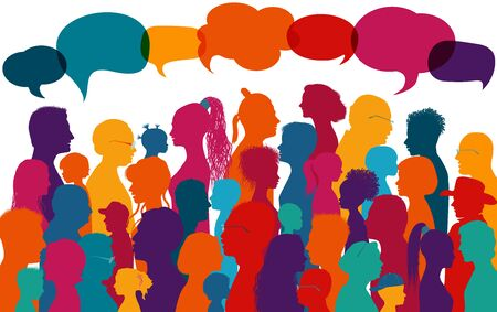 Crowd silhouette colored profile diversity people.Multicultural population.Globalization.Many multiethnic people who communicate and share ideas.Confusion and disorganization.Immigration 版權商用圖片