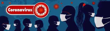Crowd of people protecting themselves against pandemic epidemic infection.Group of people wearing medical masks.Virus contamination.Coronavirus wall paper.Vaccination. Antivirus.Banner