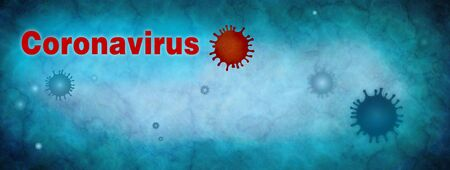 Coronavirus. Pandemic epidemic infection.Virus contamination. Microbiology And Virology Concept. Vaccination. Antivirus.Web banner. Wall paper. Blue background