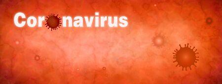 Coronavirus. Virus contamination. Pandemic epidemic infection. Microbiology And Virology Concept. Vaccination. Antivirus.Web banner. Wallpaper. Red background