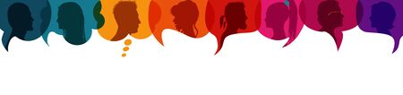 Crowd talking and inform Diversity people.Speech bubble.Communicate between a group of multiethnic and multicultural people who talk and share ideas.Silhouette heads profile.Socialize Stock Illustratie