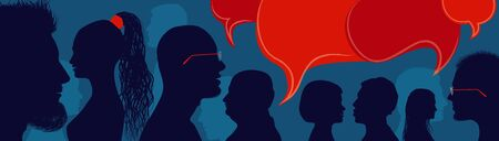 Diversity people.Speech bubble. Crowd talking and inform.Communicate between a group of multiethnic and multicultural people who talk and share ideas. Profile silhouette. Socialize.Blue Иллюстрация