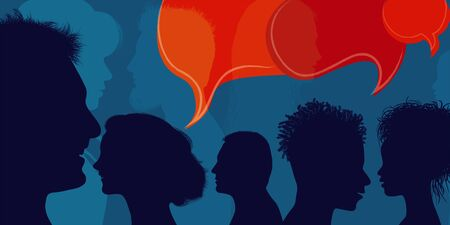 Multicultural population.Crowd people talking.Diversity people.Many multiethnic people who communicate speak and share ideas.Confusion and disorganization.Globalization.Speech bubble