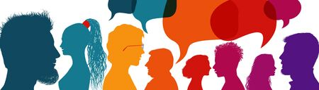 Silhouette heads people in profile.Speech bubble. Crowd talking and inform.Communicate between a group of multiethnic and multicultural people who talk and share ideas.Diversity people Иллюстрация