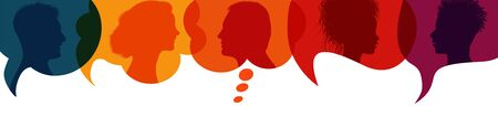 Speech bubble.Silhouette heads people in profile.Talking dialogue and inform.Communicate between a group of multiethnic and multicultural people who talk and share ideas.Diversity people