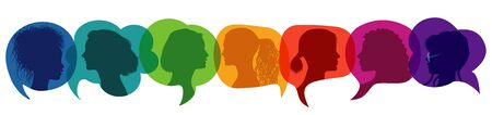 Silhouette group of multiethnic women who talk and share ideas and information. Иллюстрация