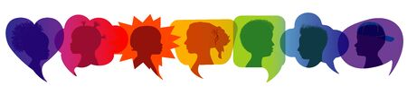Silhouette group of modern children in rainbow colored profile. Communication between multi-ethnic children. Children talking. Speech bubble Vectores